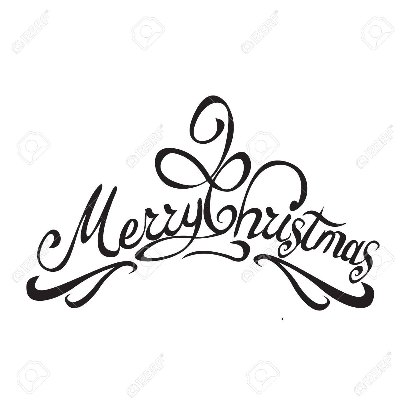 Frohe Weihnachten Text Kalligraphische Beschriftungsentwurfskarte ...