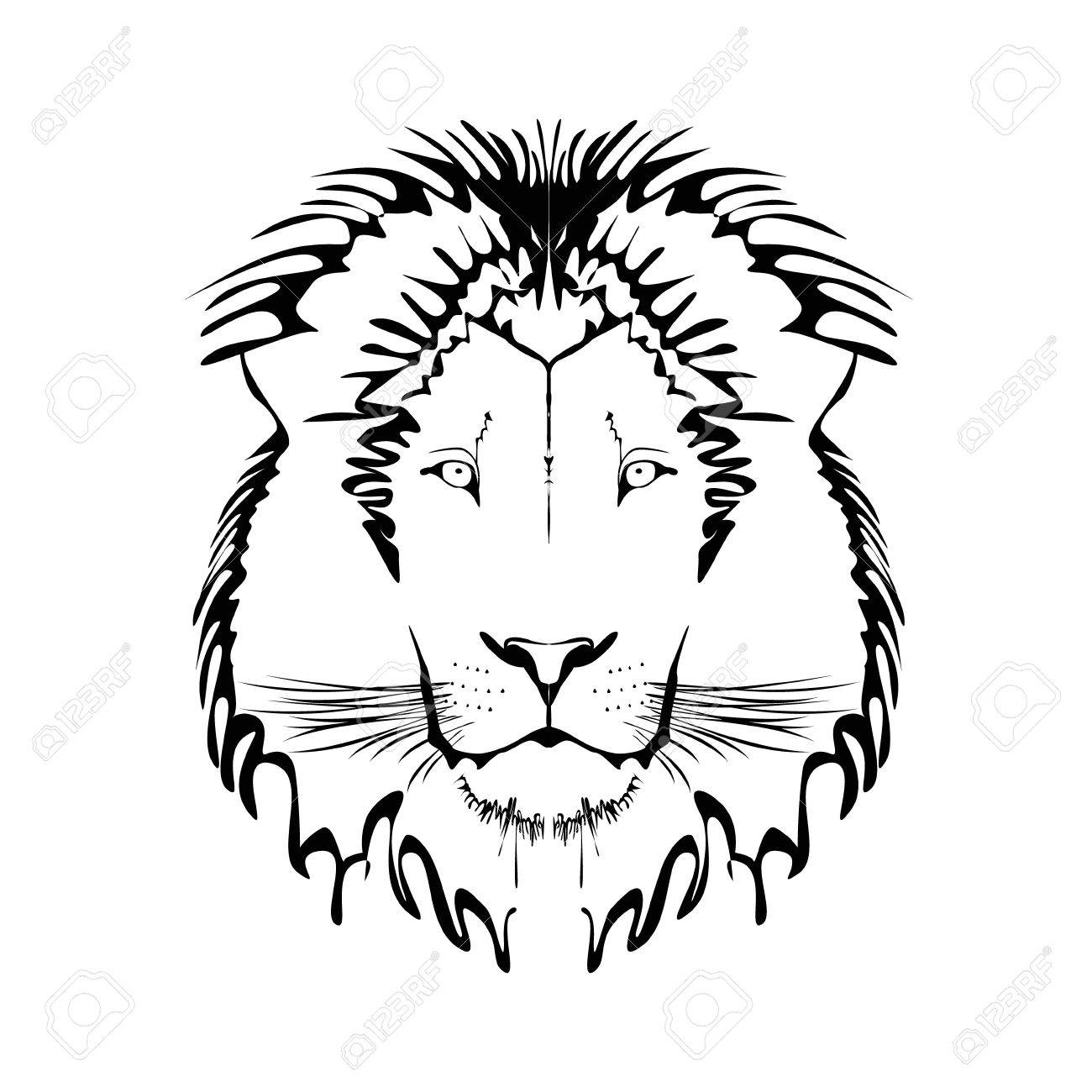 Vector Black And White Tattoo King Lion Illustration Royalty Free