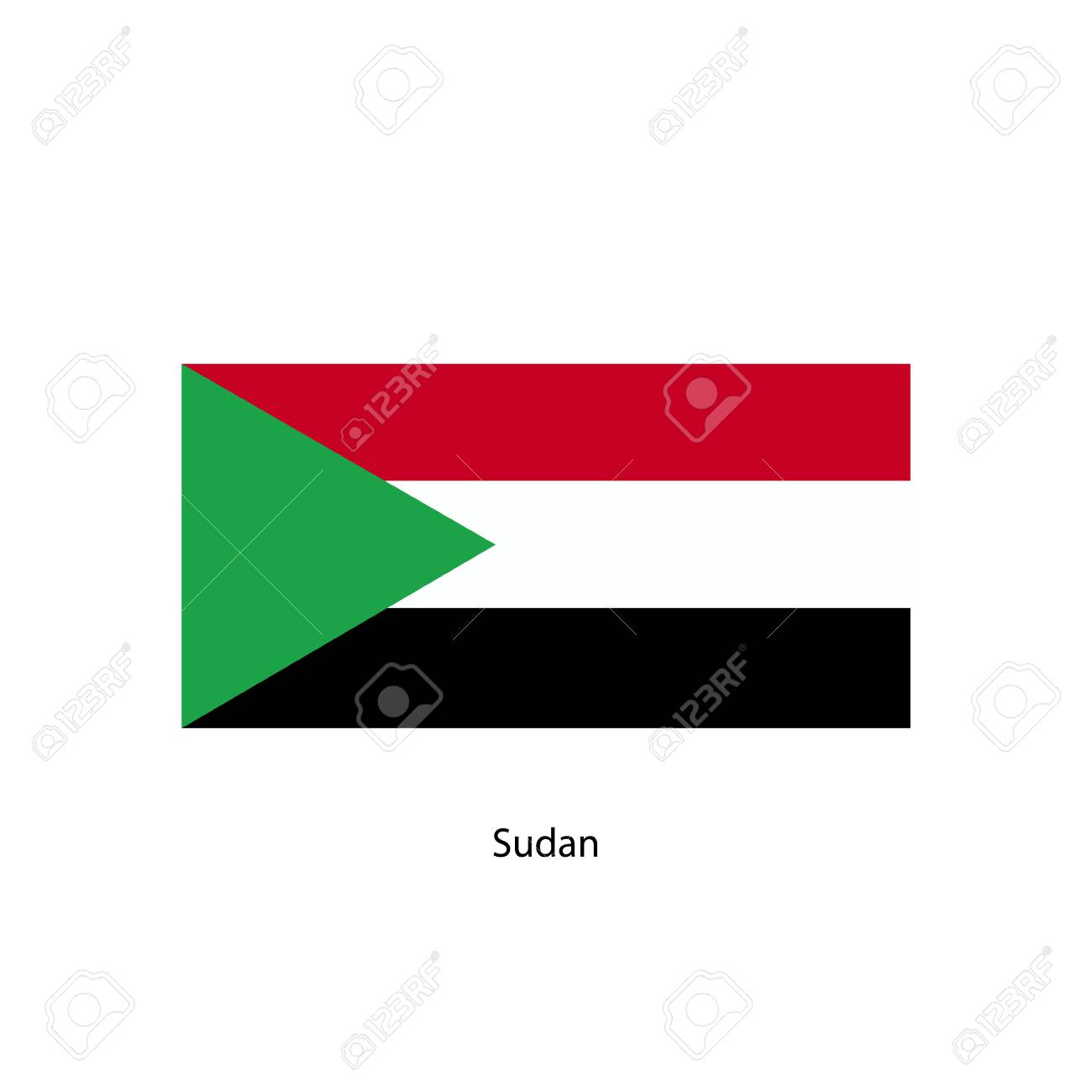 sudan flag official colors and proportion correctly national