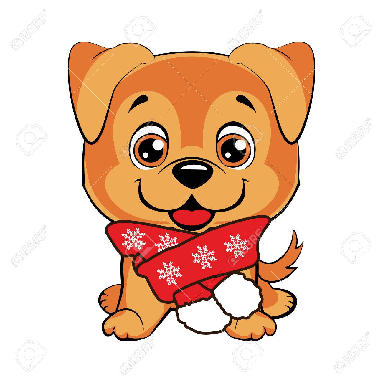Doggy With Scarf Happy Dog Cartoon Cute Puppies Isolated Royalty Free Cliparts Vectors And Stock Illustration Image 82076628