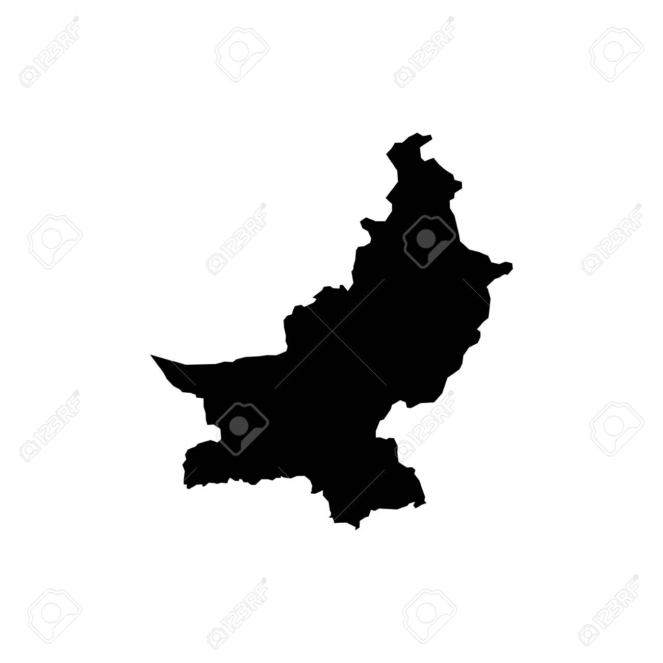 Outline map of Pakistan  Isolated vector illustration