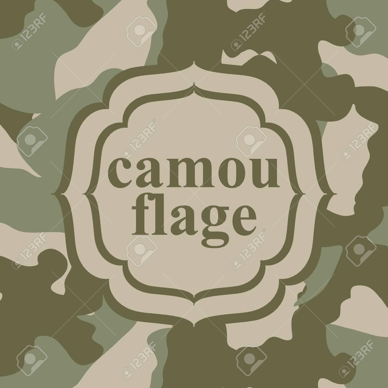 Camouflage-Muster Mit Vintage-Rahmen. Militär Stil Hintergrund ...