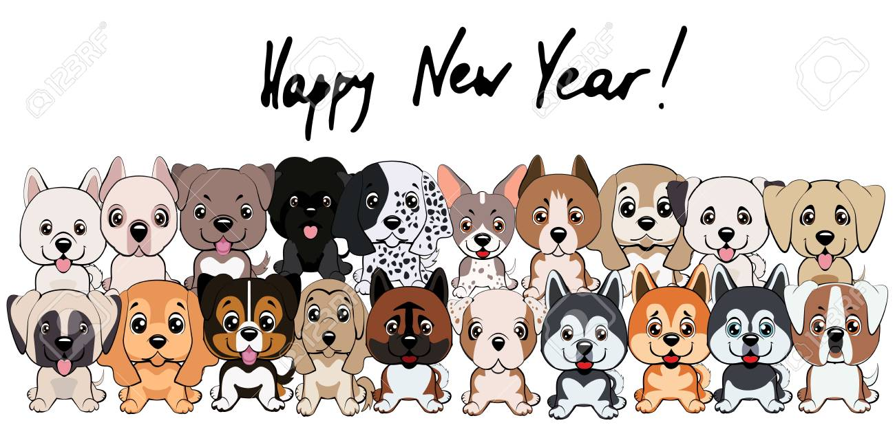 2018 new year card is happy new year with different type of cartoon dogs stock vector