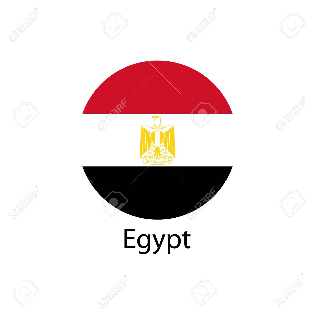 The Flag Of Egypt In The Form Of A Circle And The Name Of The ...