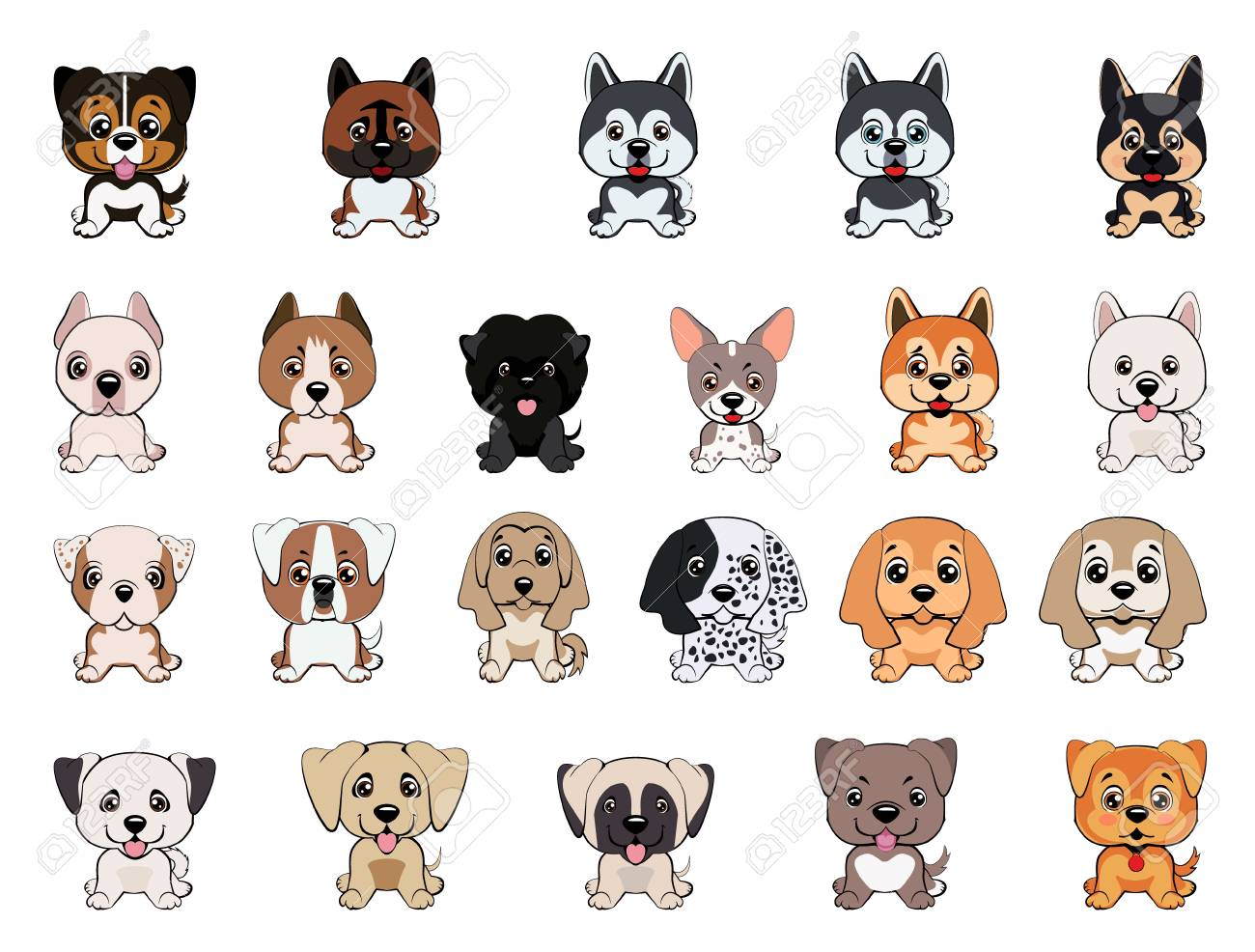 A Set Of Dogs Of Different Breeds Puppies Of Different Colors