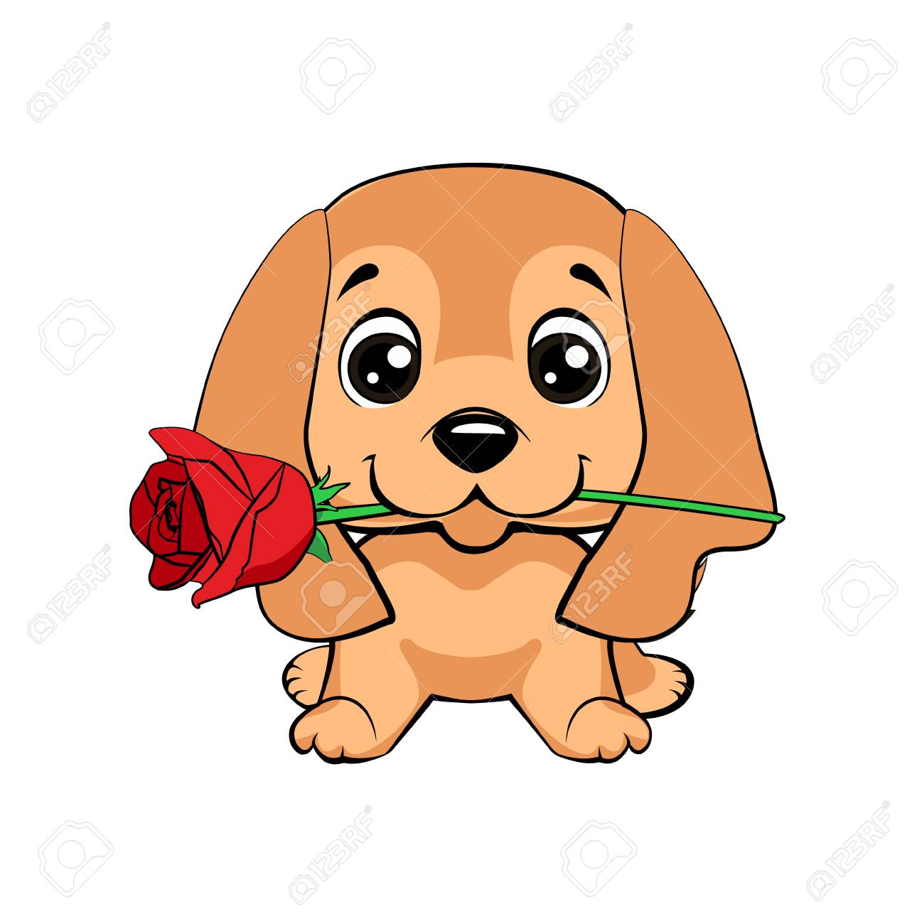 English Cocker Spaniel Dog Cute Puppy With A Flower Cartoon Royalty Free Cliparts Vectors And Stock Illustration Image 108408129
