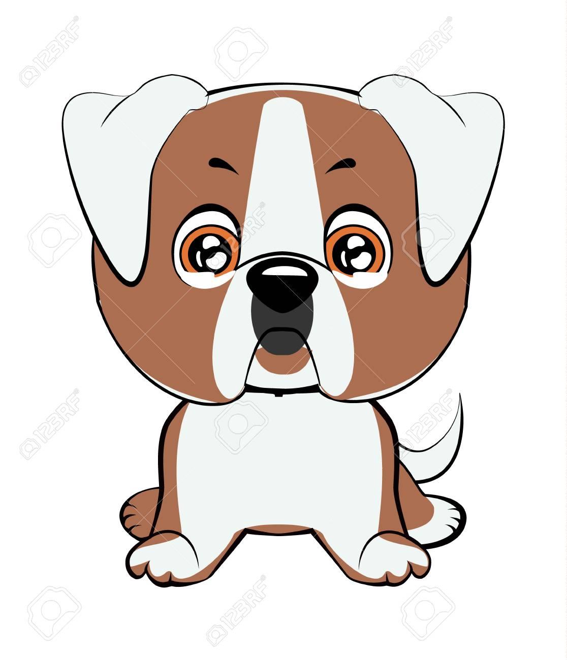 American bulldog puppy  Vector illustration of cute dog in flat