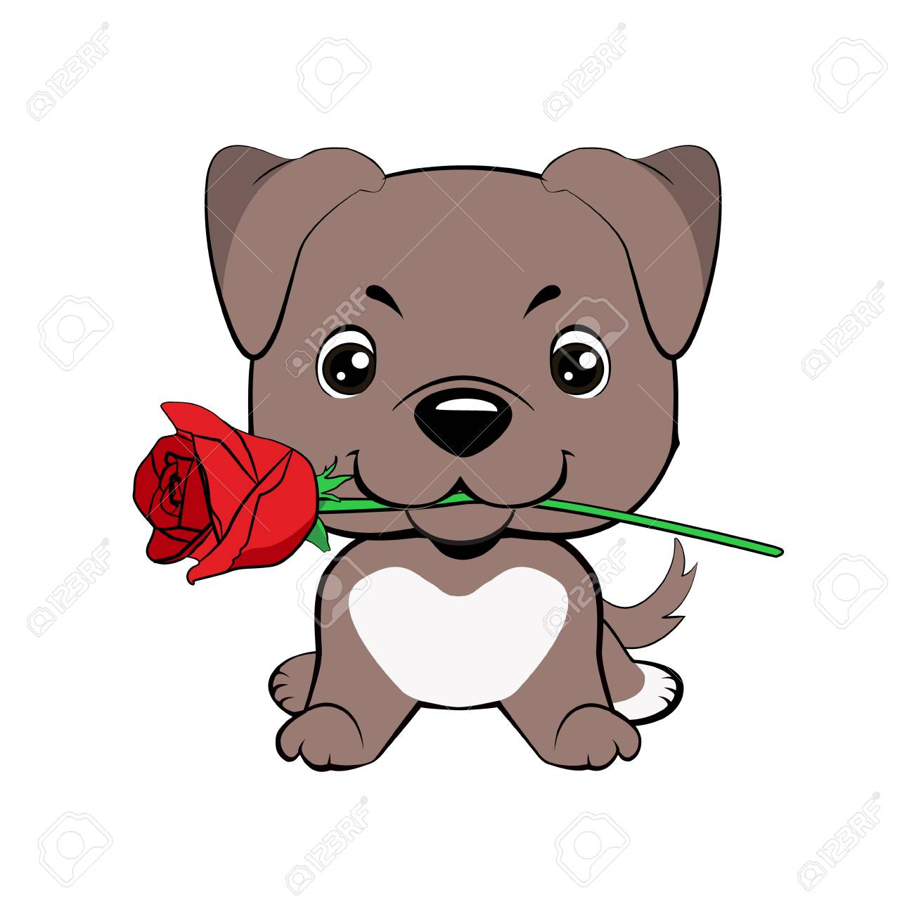 American Pitbull Terrier. Cute Puppy With A Flower Cartoon Hand ...