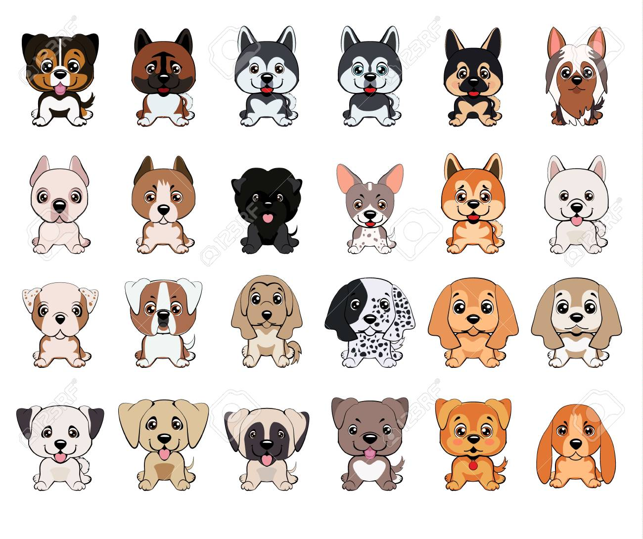 A Set Of Dogs Of Different Breeds Puppies Of Different Colors Royalty Free Cliparts Vectors And Stock Illustration Image 109752078