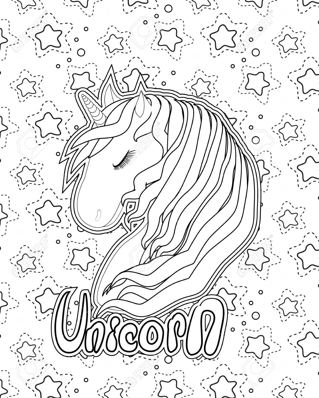 Unicorn Coloring Page Print Black Line On White Royalty Free