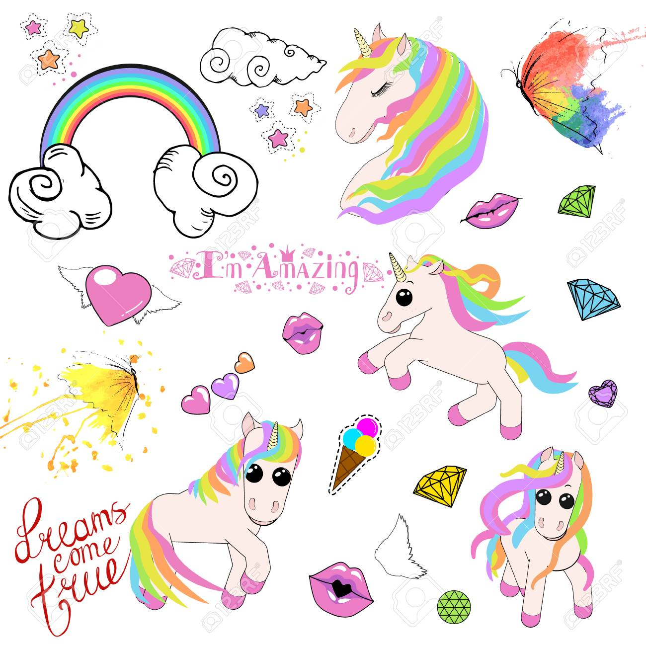 A set of icons of unicorns, stars, ice cream, rainbow, clouds with curls, lips in a kiss, ice cream in a horn and diamonds. vector illustration isolated on white background - 127046489