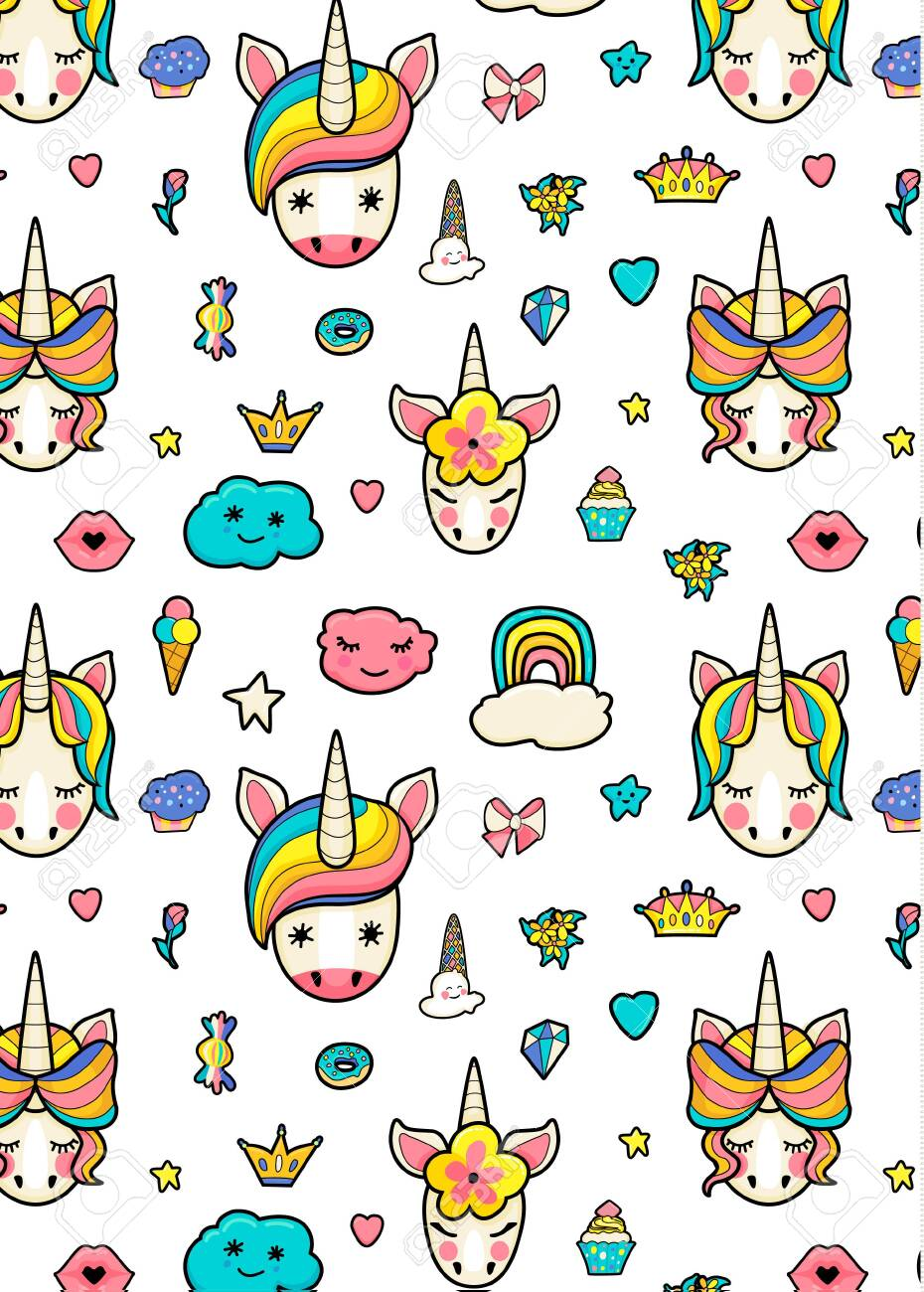 Pattern with cute faces of unicorns, ice cream, stars, hearts, donut, rainbow, crowns, cupcake. Dreaming unicorns in bright colors - 122899685