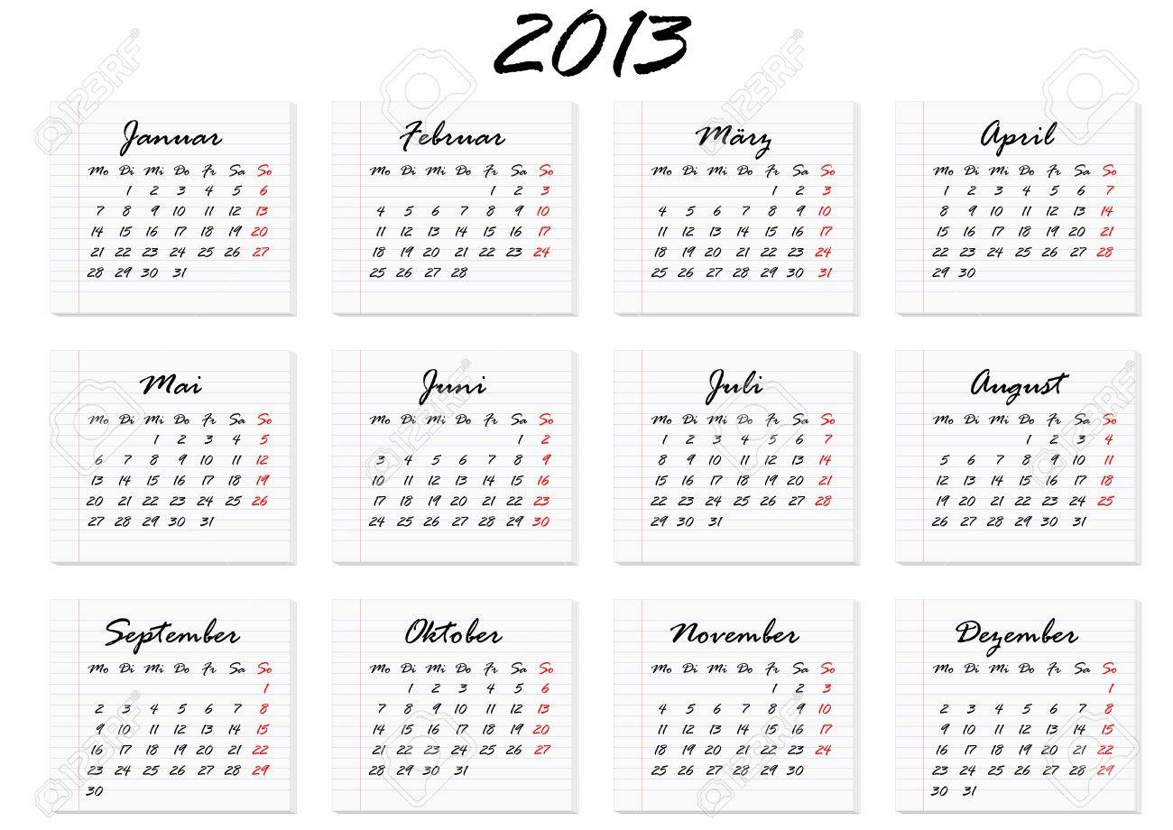 calendar for the year 2013 in German Stock Vector - 15581312