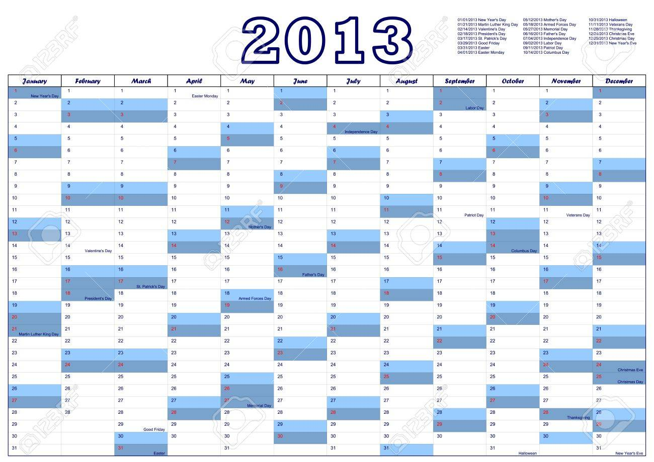 calendar for 2013 with federal holidays u s a royalty free cliparts