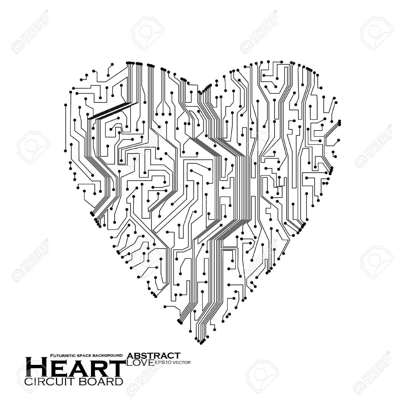 circuit board vector background, technology illustration, form of heart eps10 Stock Vector - 11990858