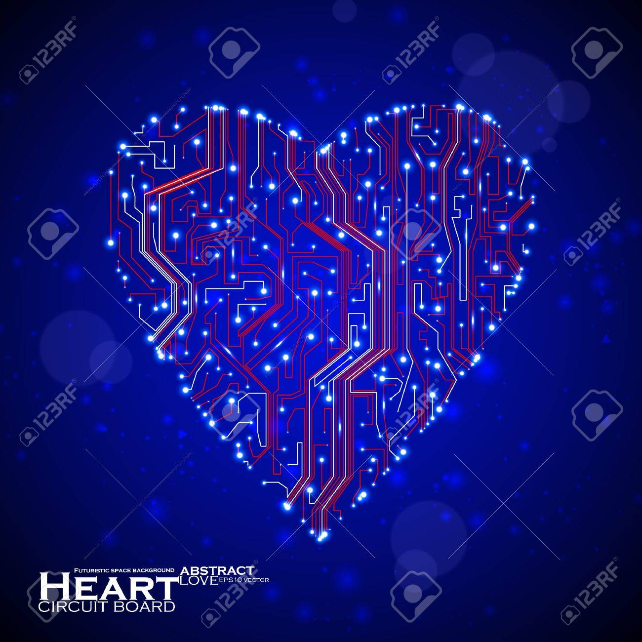 circuit board vector background, technology illustration, form of heart eps10 Stock Vector - 12084389