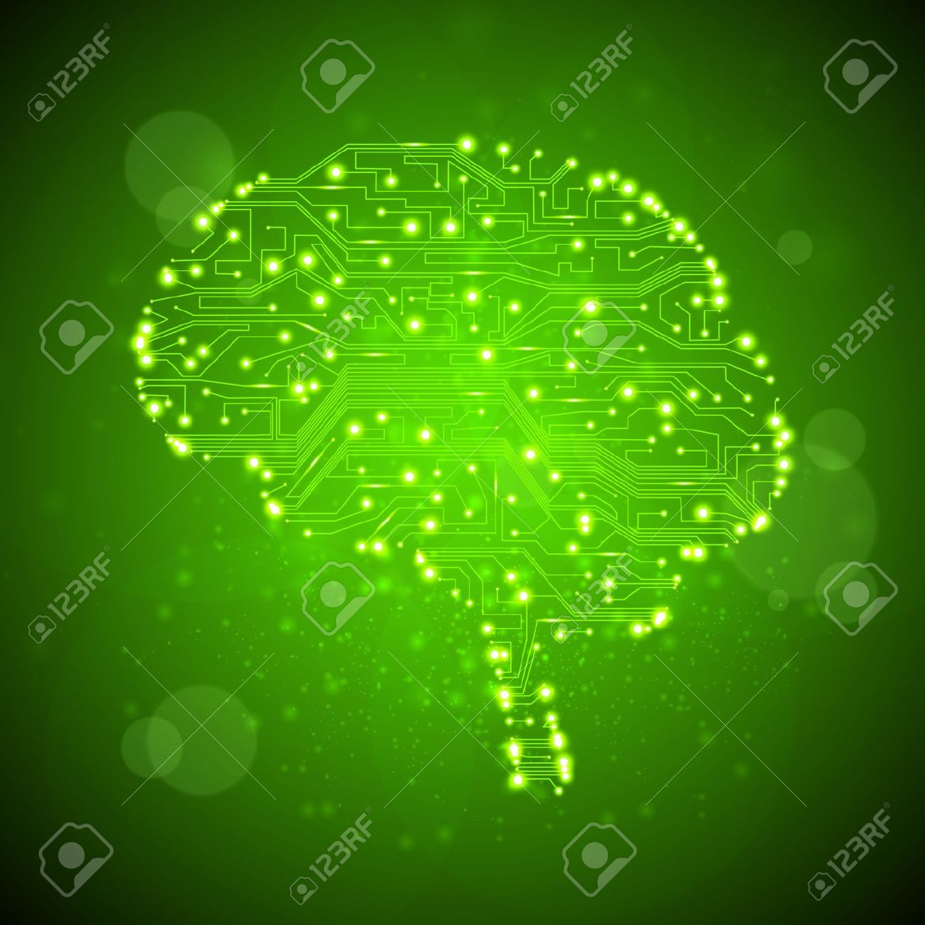 Circuit Board Background Technology Illustration Form Of Brain Design Over Green Vector Stock 12355648