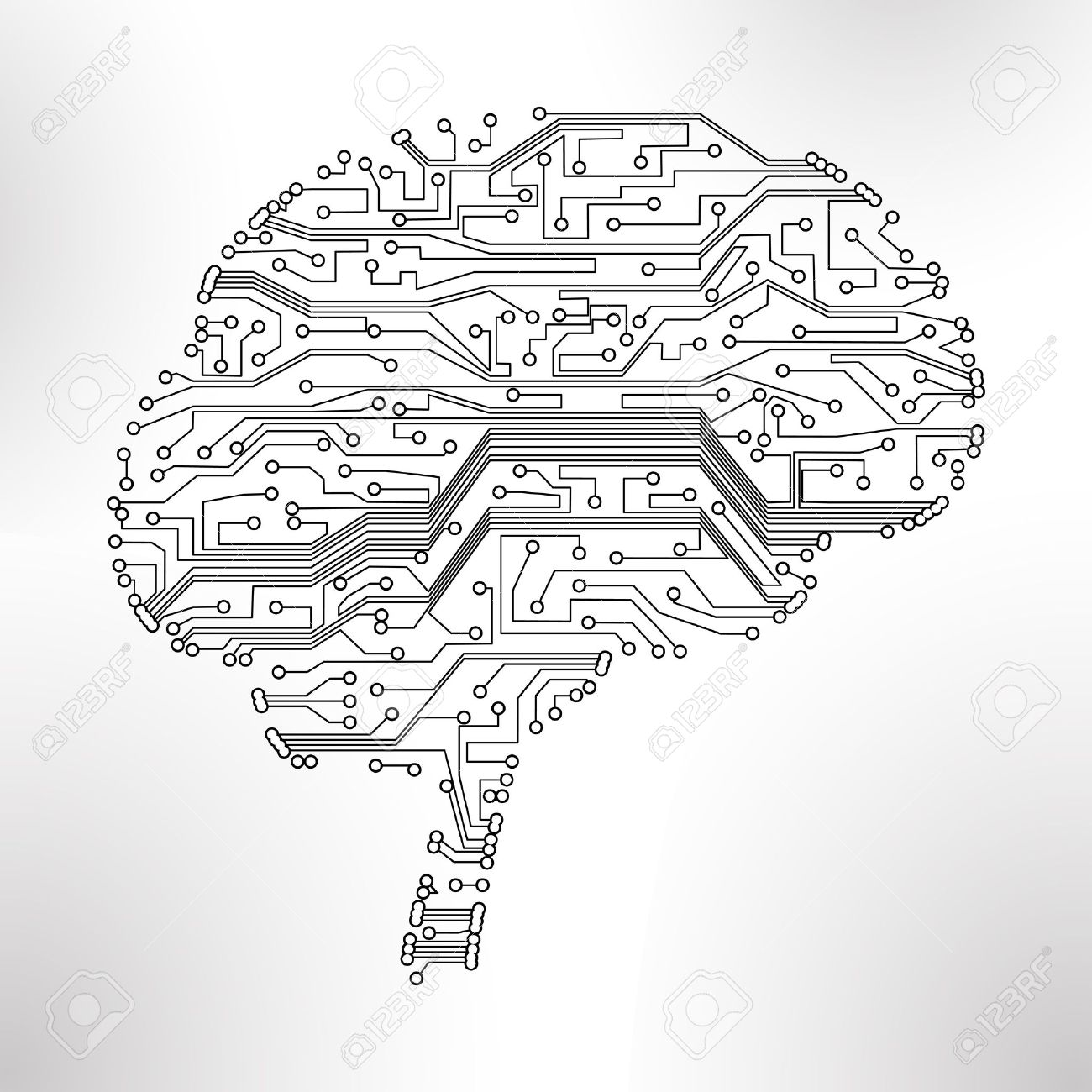 Circuit Board Background, Technology Illustration, Form Of Brain ...