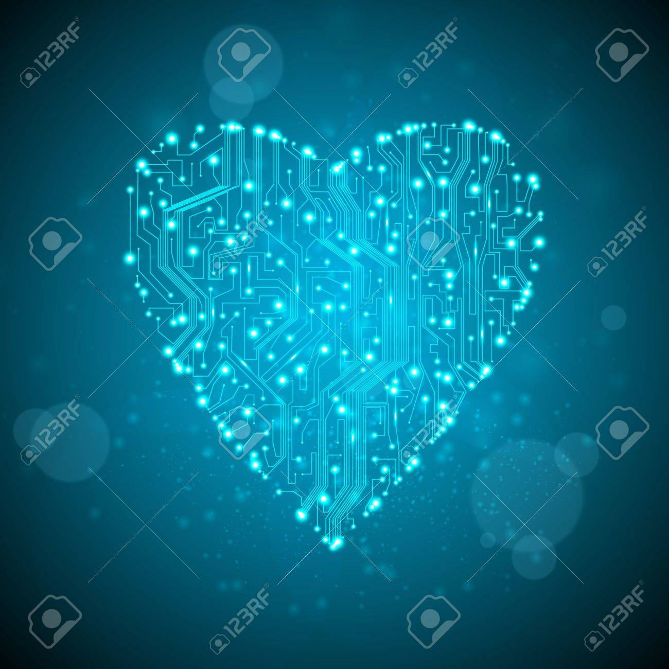Circuit Board Background, Technology Illustration, Form Of Heart ...
