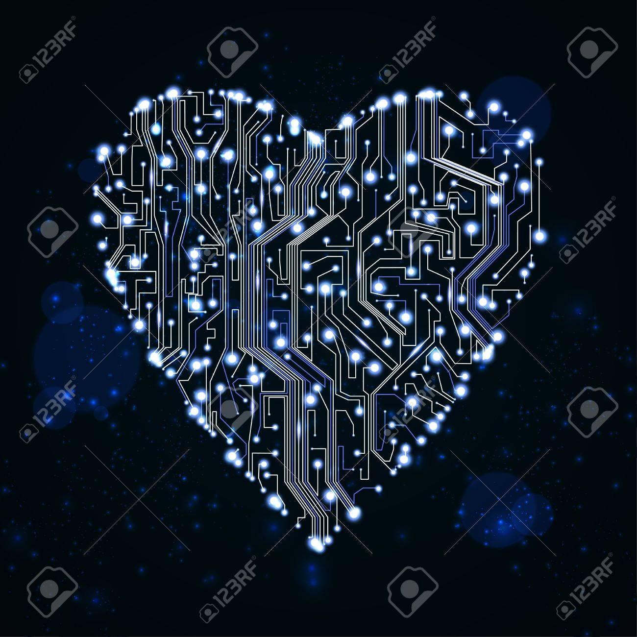 circuit board background, technology illustration, form of heart Stock Illustration - 12355687