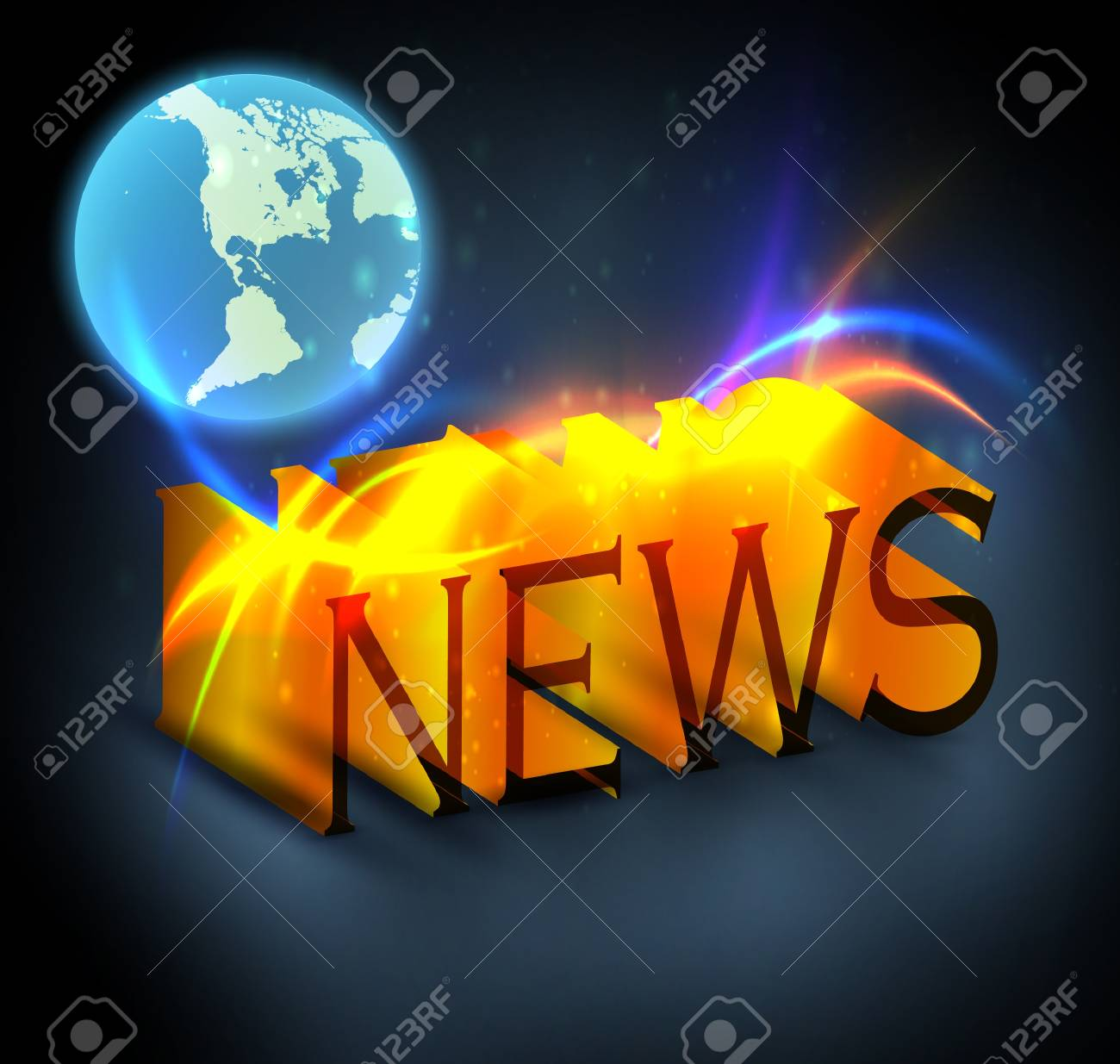 3d colorful news text with globe eps10 Stock Vector - 12356301