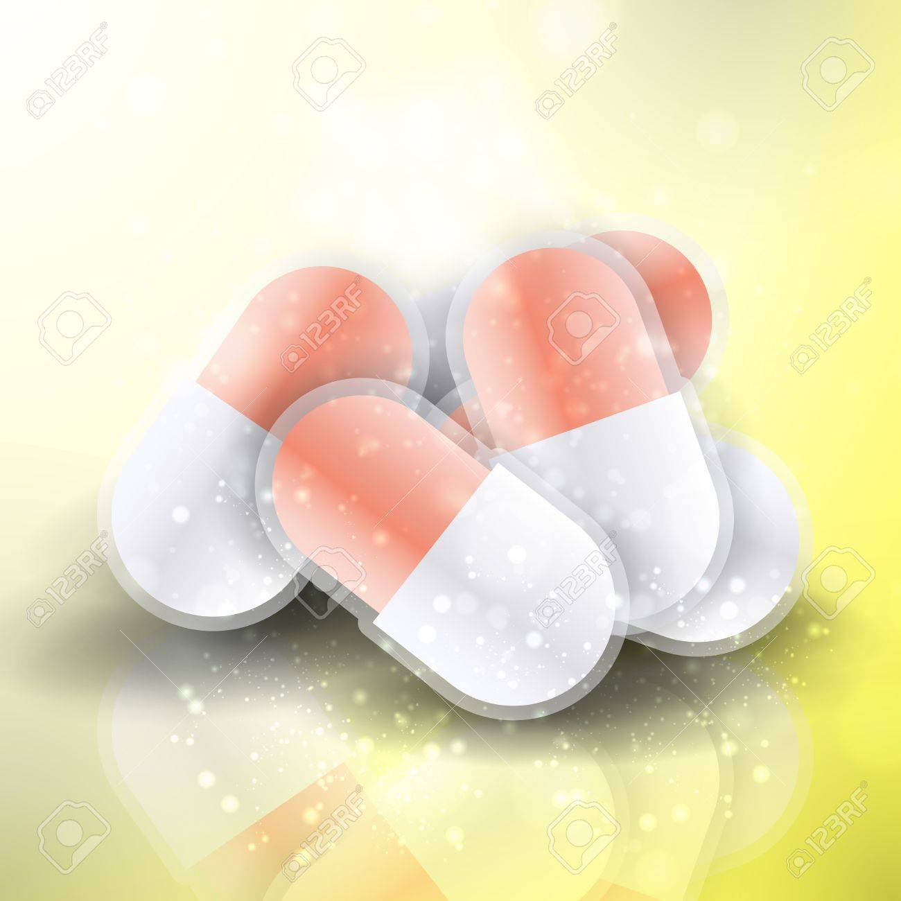 Medical pills - tablets illustration  on reflective surface, isolated objects Stock Illustration - 13404550