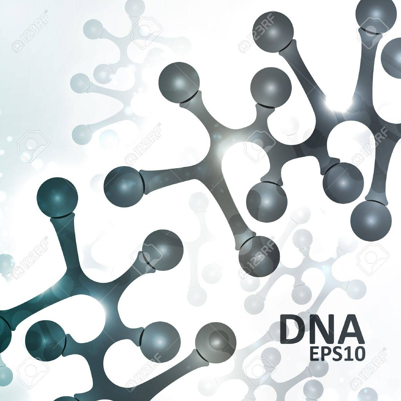 Futuristic dna, abstract molecule, cell illustration Stock Vector - 14975399