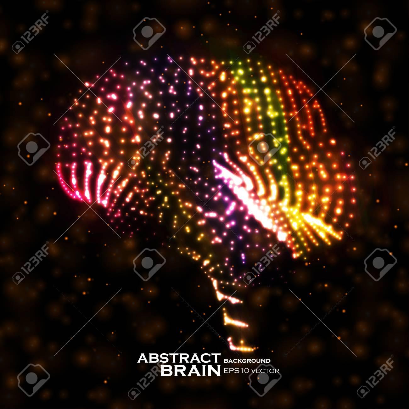 Neon brain, abstract vector illustration, bright elements - editable eps10 Stock Vector - 19968197