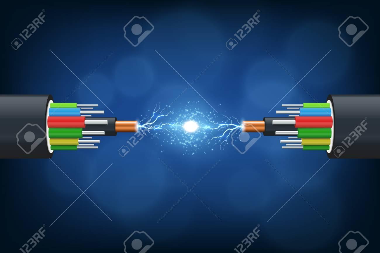 Fiber optical cable. Illustration isolated on blue background. - 99118848