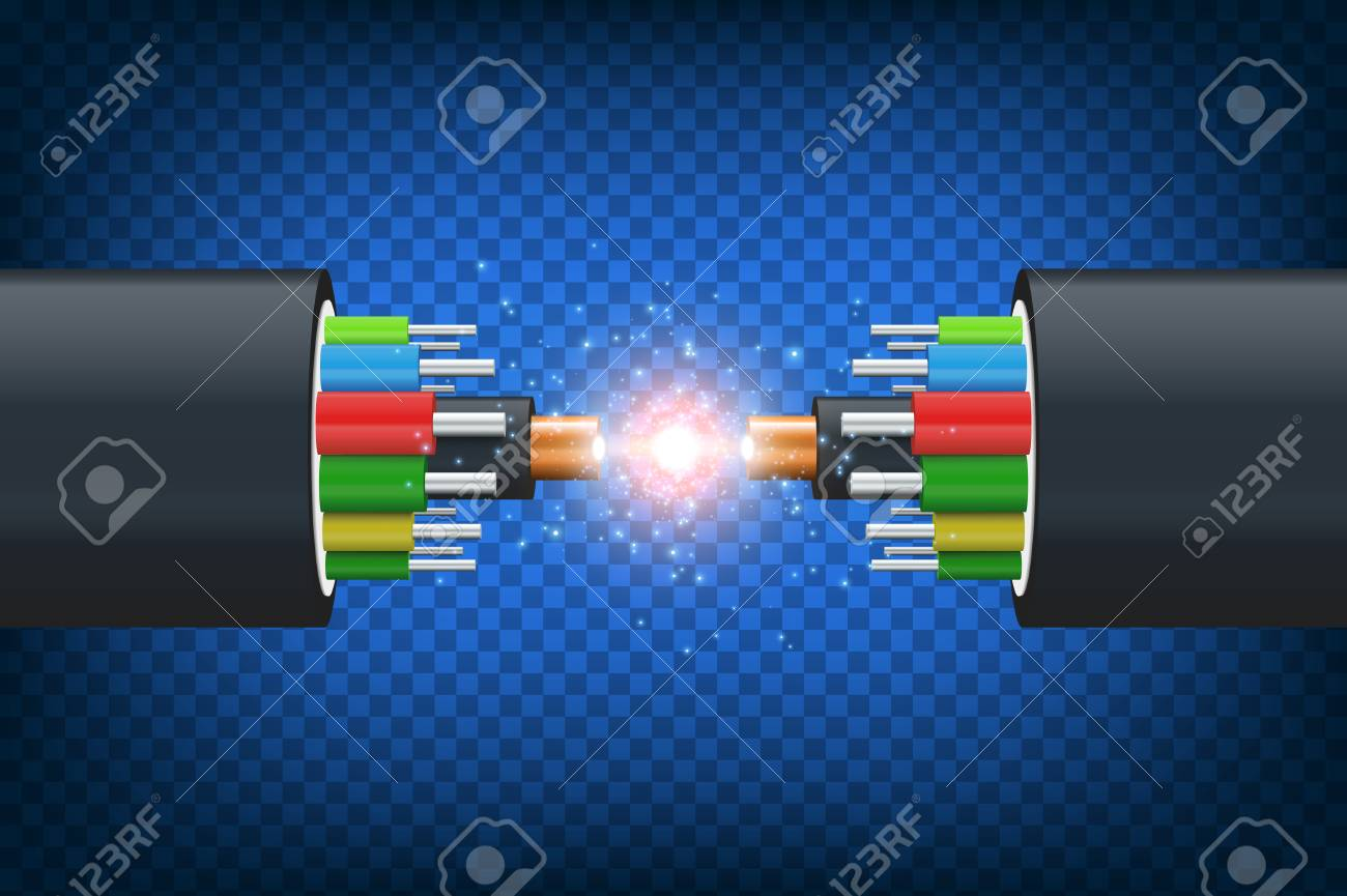 Fiber optical cable. Illustration isolated on blue background. Graphic concept for your design - 99565557