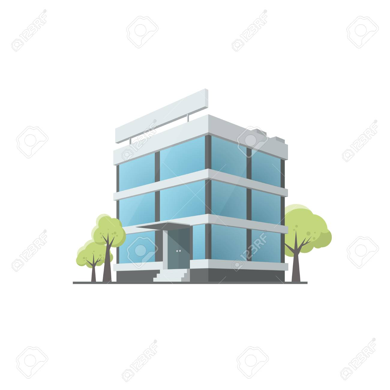 Office Building In Cartoon Style Illustration Isolated On White
