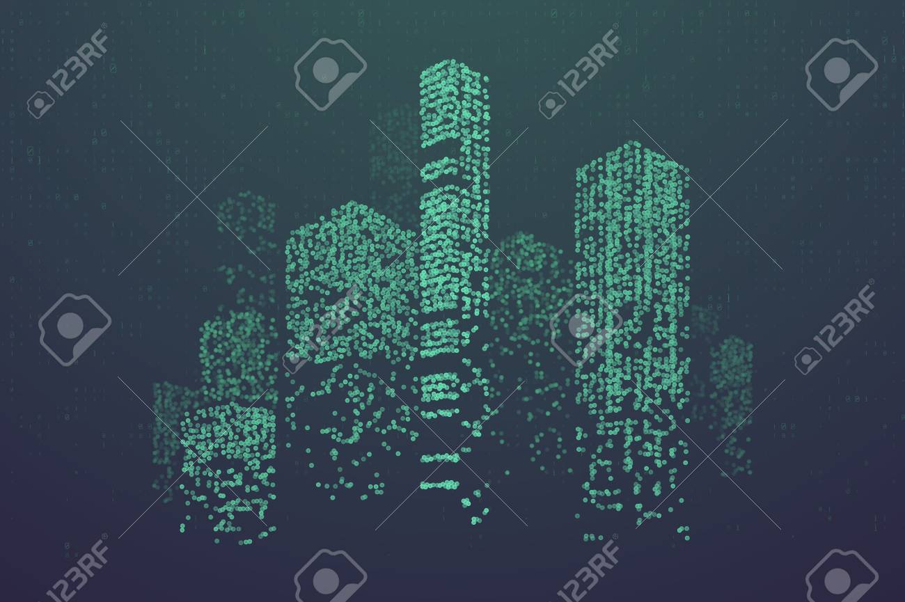 Glowing particles in form of futuristic city skyline. Futuristic dots pattern, abstract binary code illustration - 109432919