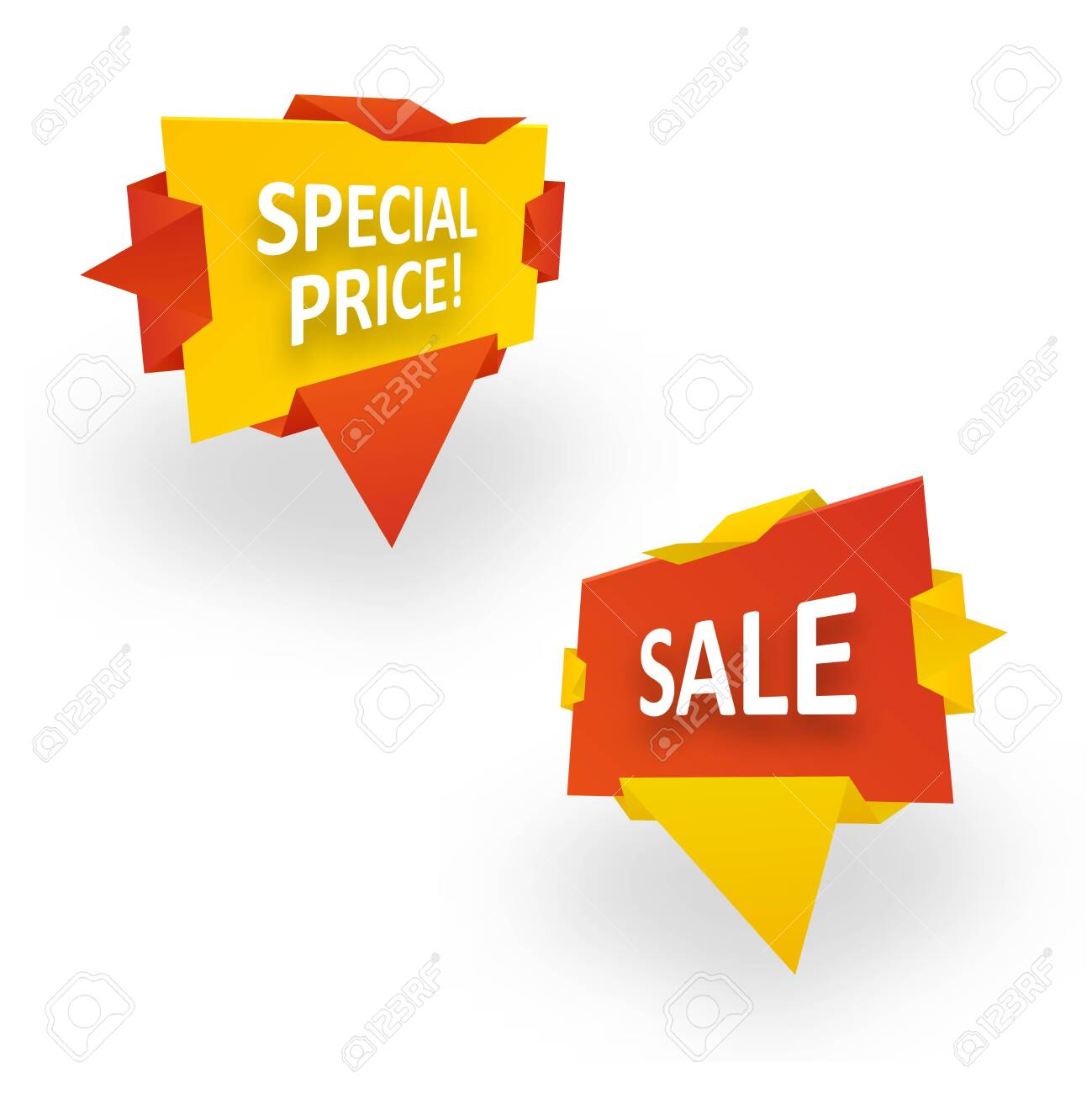 Origami banner wrapped in paper. Special Price Sale. Graphic concept for your design - 146264249