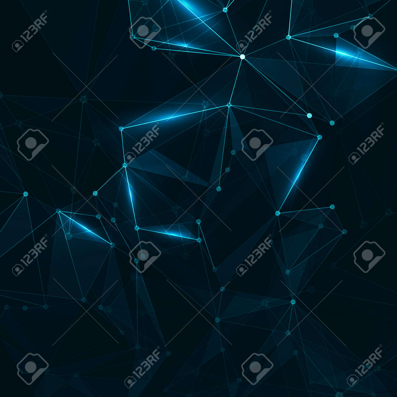 Abstract polygonal space. Background with connecting dots and lines. The concept illustration - 159516956