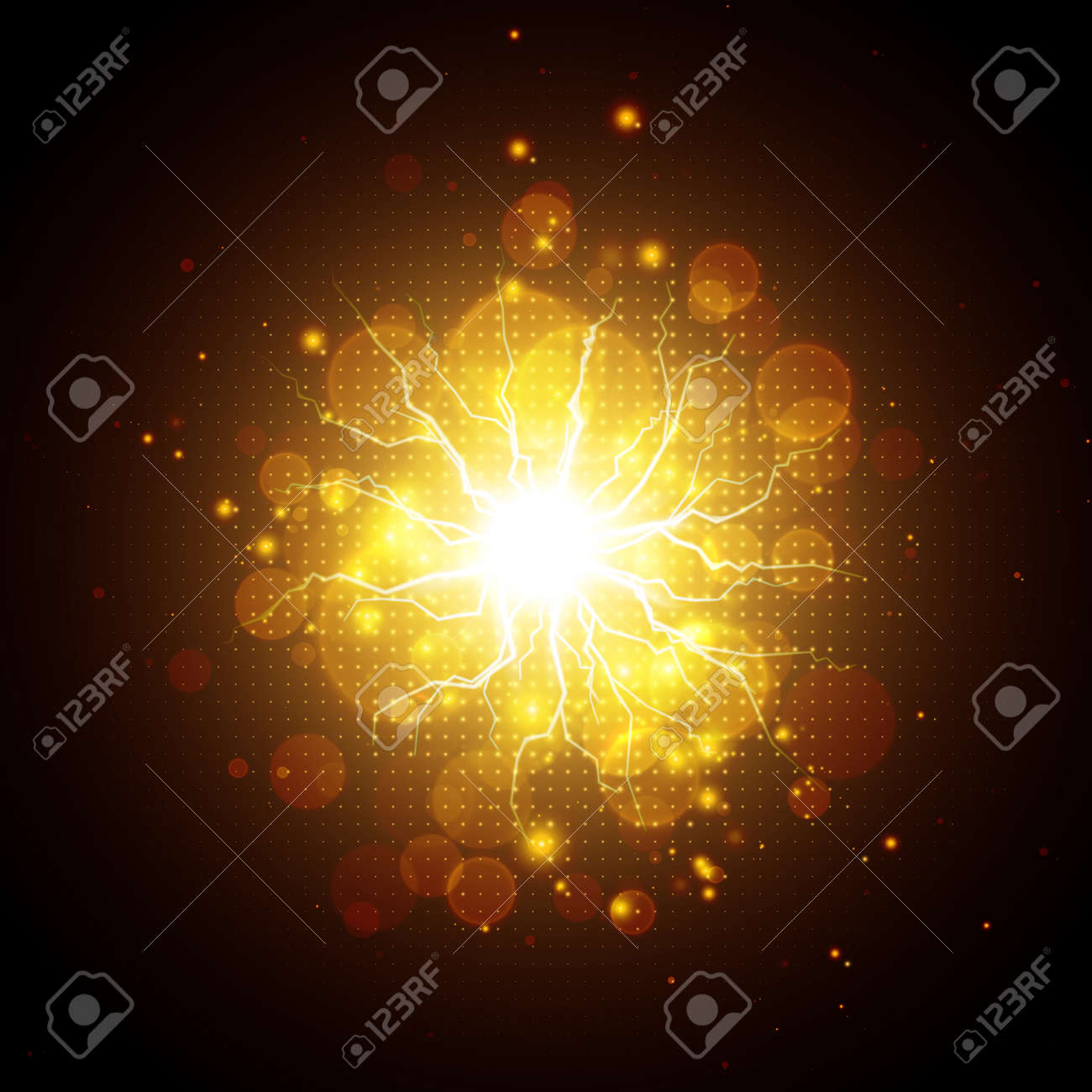 Golden glowing lights effects isolated on dark background, abstract magic energy Illustration - 169576790