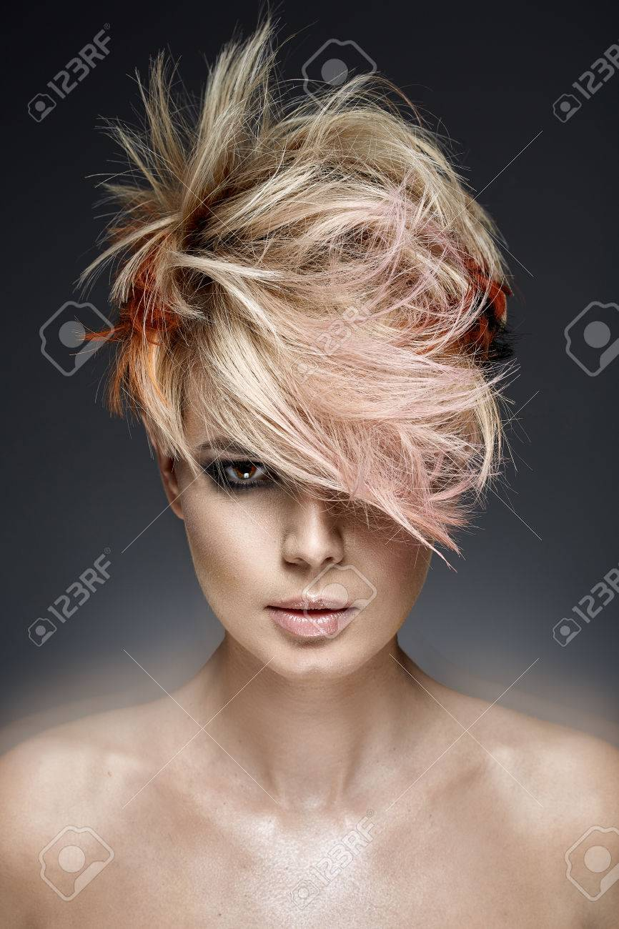Portrait of a joyful woman with a colored coiffure - 51894244