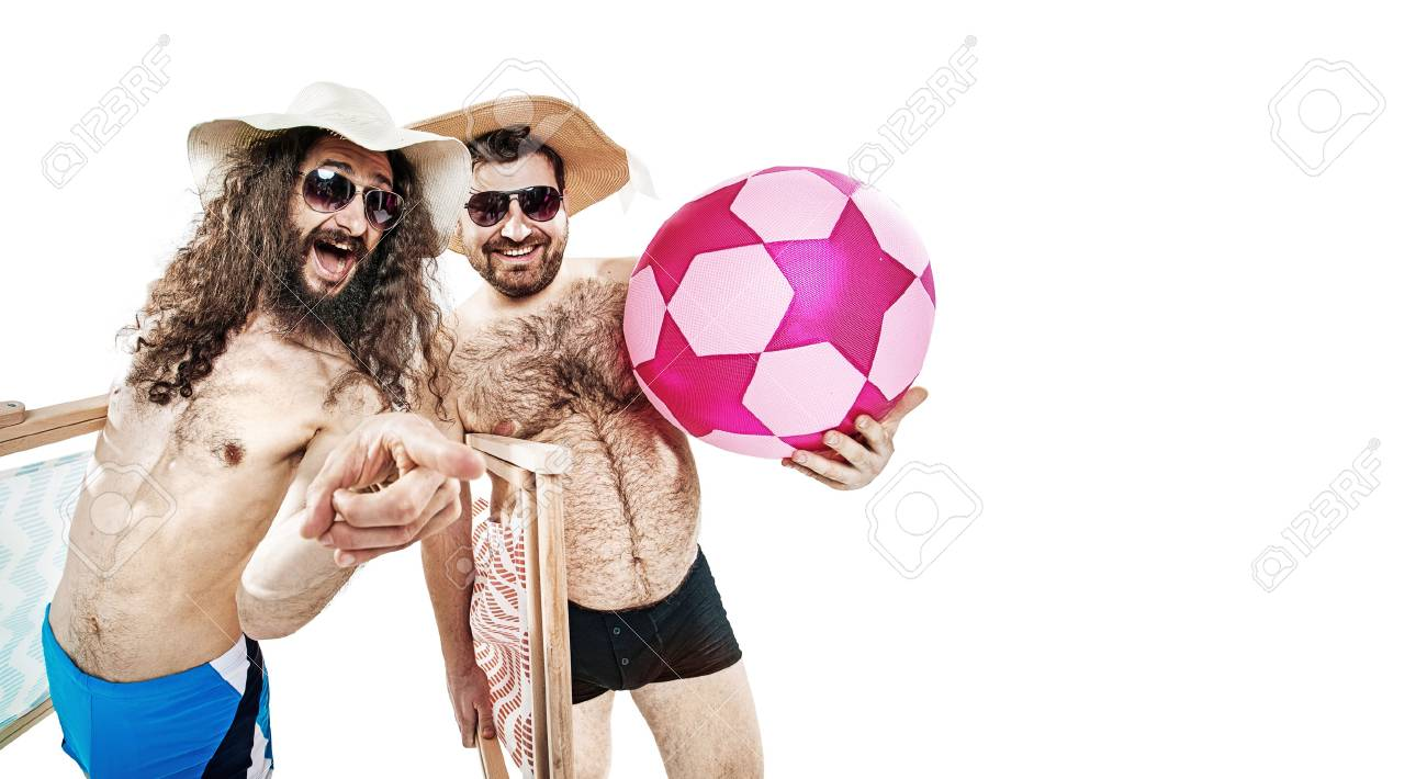 Portrait of two funny friends on the summer beach - isolated - 73081099