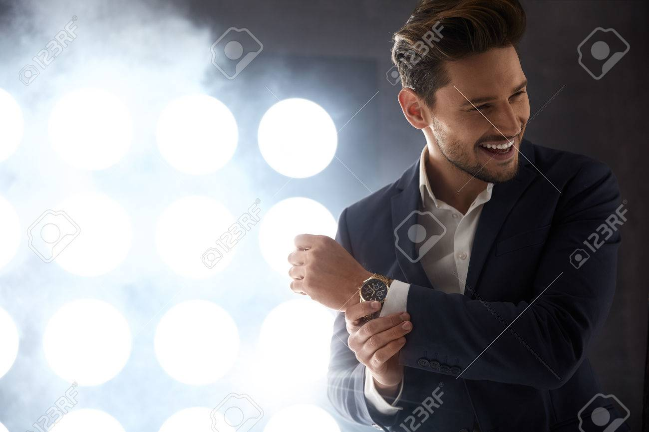Cheerful young model in the night club - 78524161