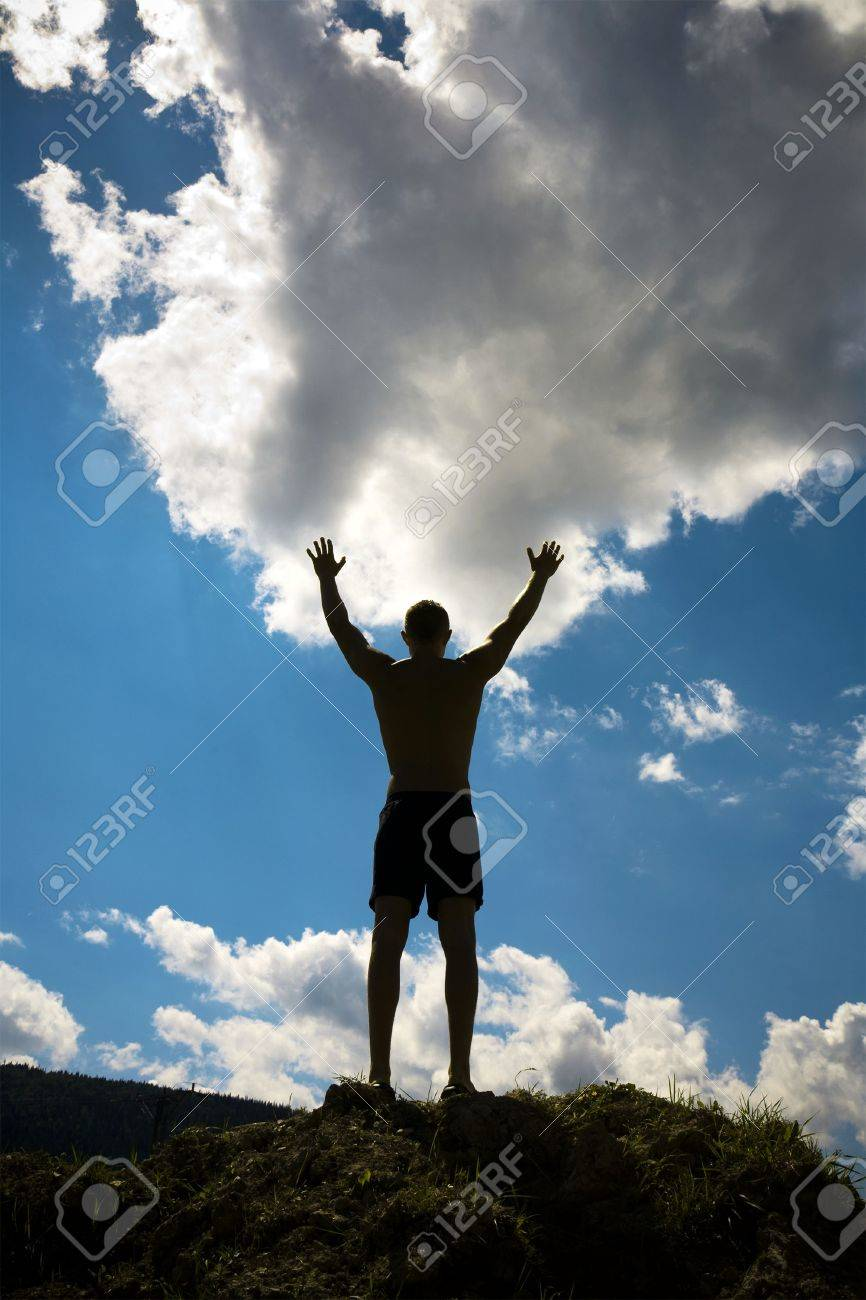 Silhouette of man on sky background. - 8162370