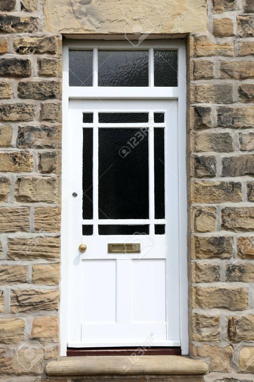 Favorit Weiß Haustür Von Einem Alten Englischen Haus Lizenzfreie Fotos TF91