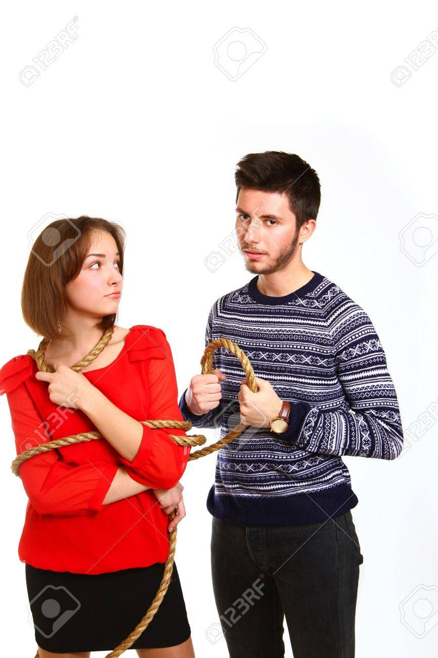 littlegirl tied up Angry boy and girl tied with rope Stock Photo - 17716317