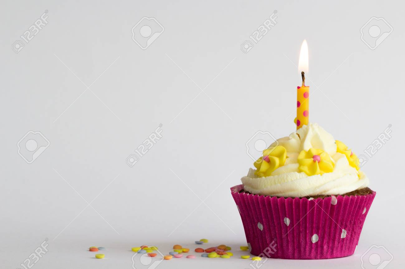 Delicious birthday cupcake with flowers and candle stock photo delicious birthday cupcake with flowers and candle stock photo 77538578 izmirmasajfo