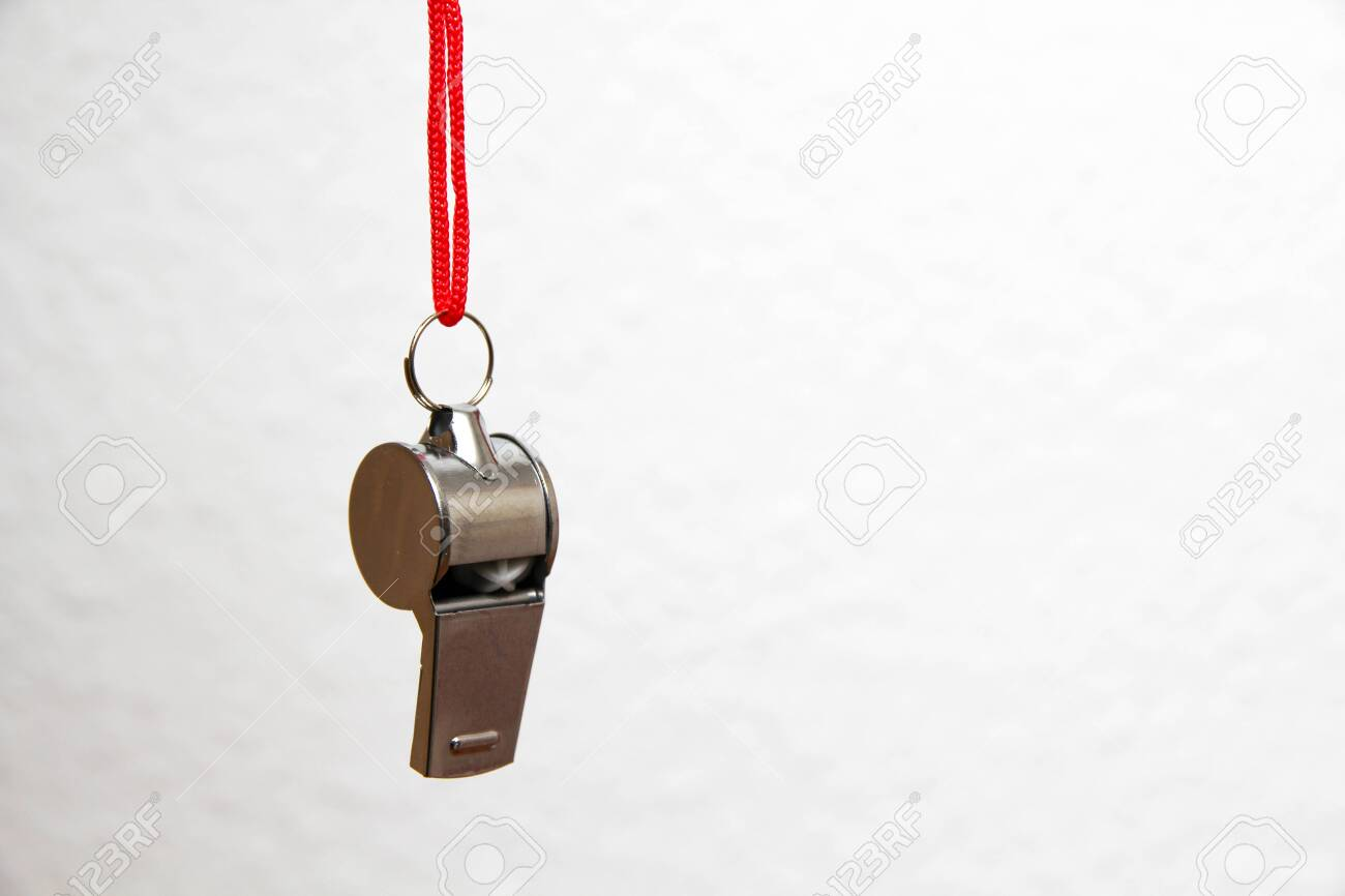 Metal whistle against white background - 138835334