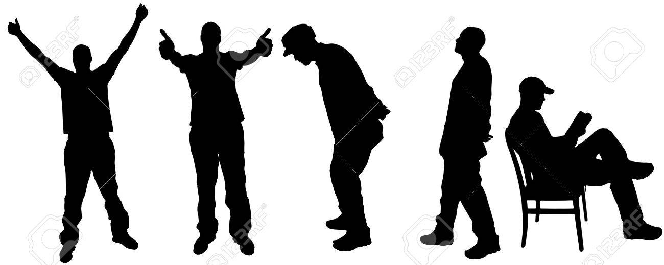 vector silhouette of a man on Various Positions and reading Stock Vector - 25882013