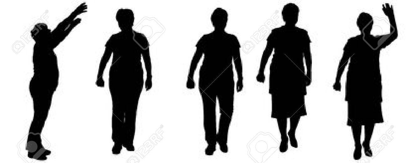 vector silhouette of a old woman on a white background. royalty