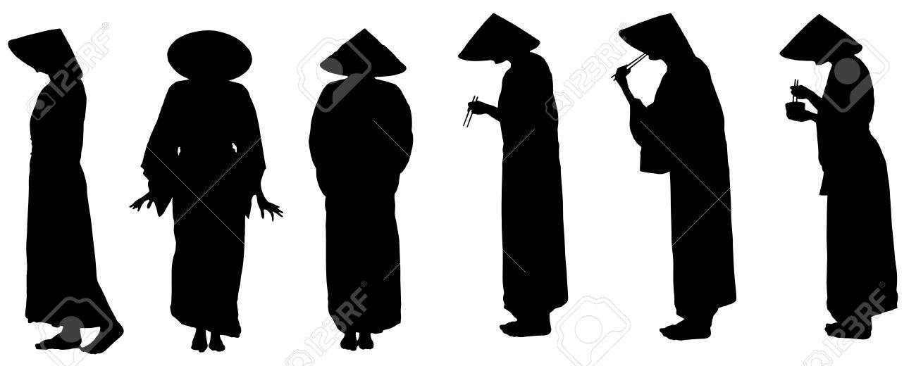 Vector silhouette of Chinese isolated on white Stock Vector - 26304954