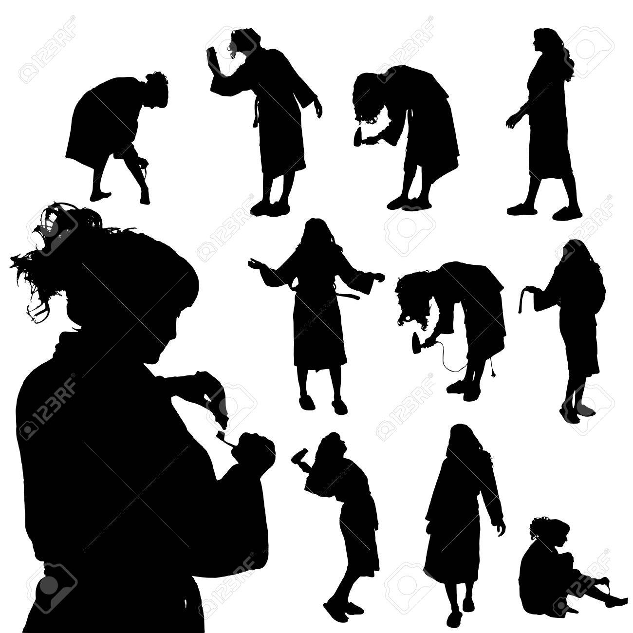 Vector Silhouette Of A Woman Who Is In The Bathroom Royalty Free