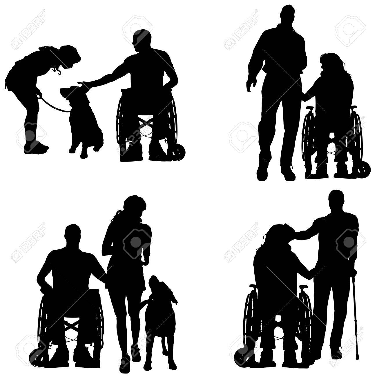 Wheelchair Silhouette - Vector vector silhouettes of people in a wheelchair on a white background