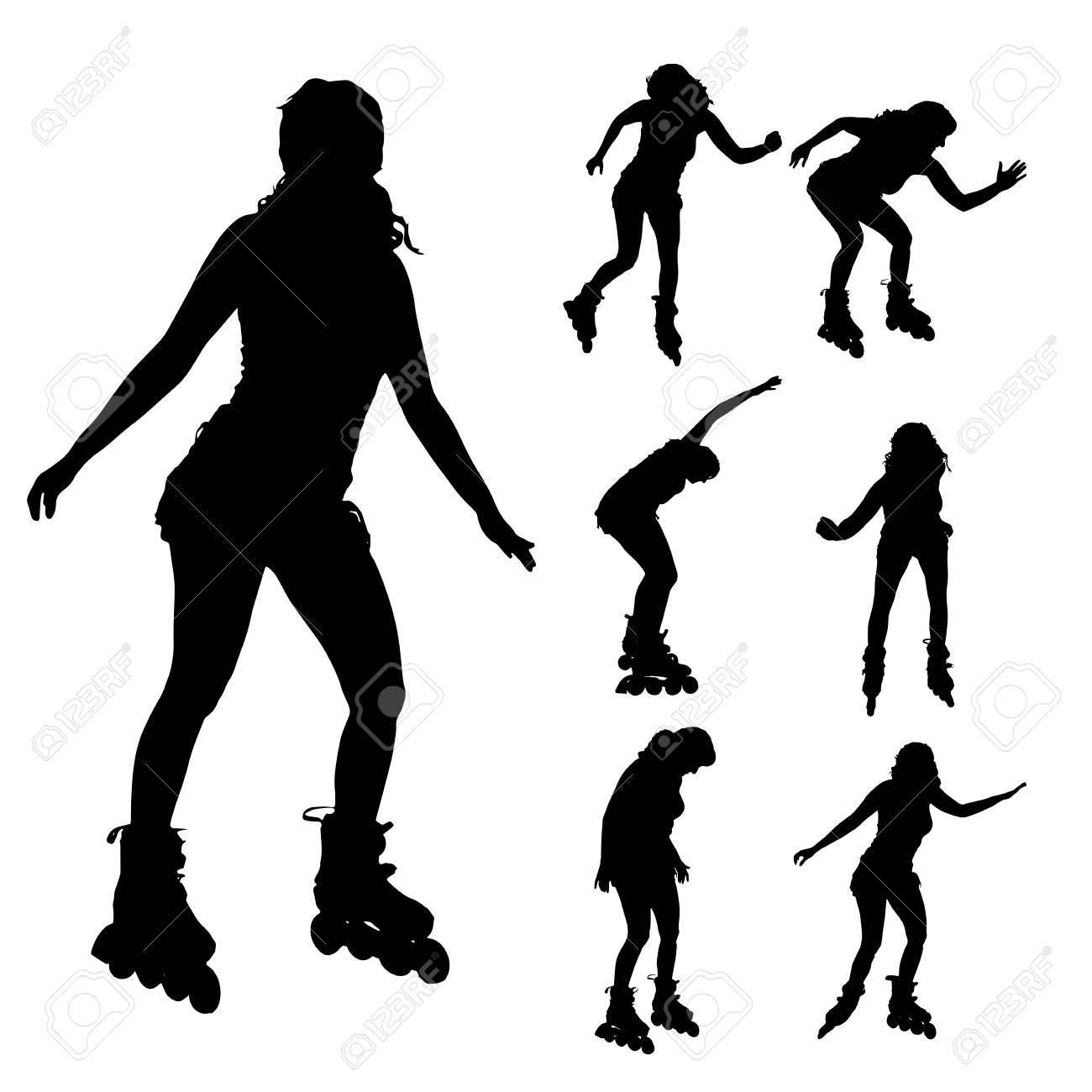 Roller skates for free - Vector Vector Silhouette Of A Woman On Roller Skates On Roller Skates