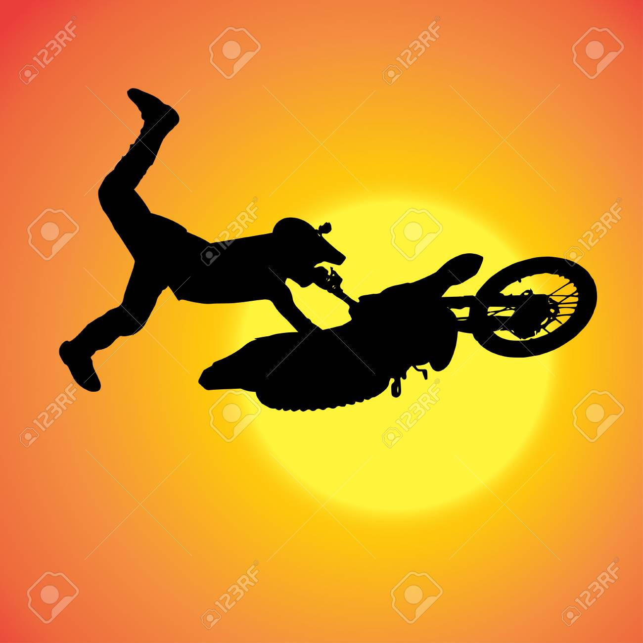 silhouette of extreme jumps on a motorbike. Stock Vector - 27986104